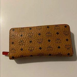 MCM Cognac Visetos Heritage ZIP Wallet